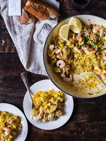 Spanish Chicken and Rice with Shrimp