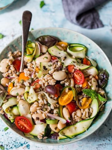 Herby Farro Salad with Olives, Cherry Tomatoes and Zucchini Ribbons