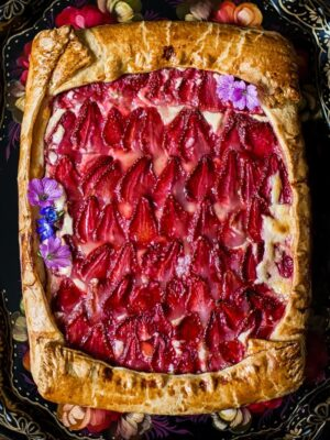 Rustic strawberry and cream cheese galette