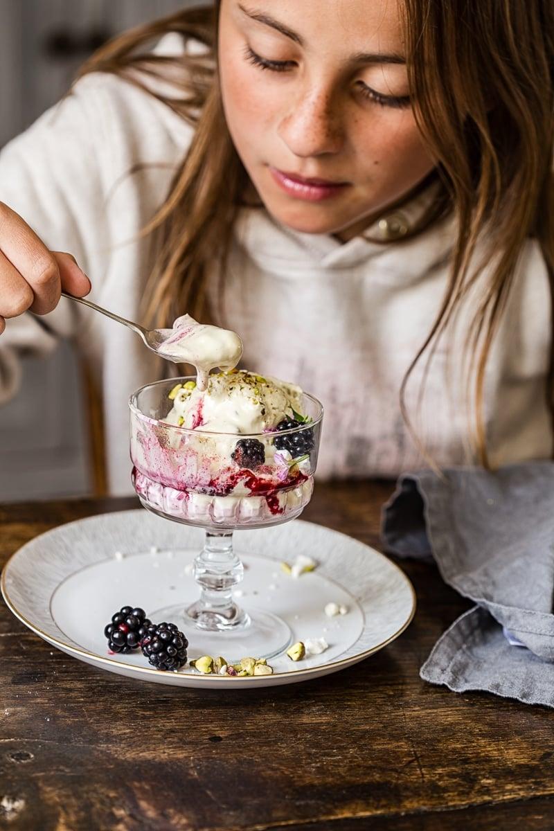 Blackberry and Pistachio Ice Cream Eton Mess