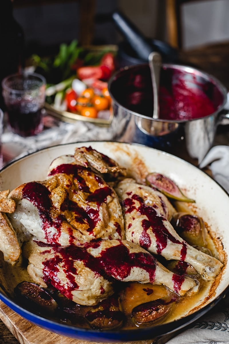 Georgian Chicken Tabaka with Spicy Blackberry Sauce