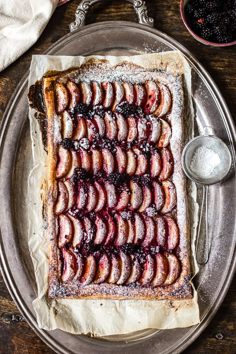 Peach and Blackberry Tart on a serving platter