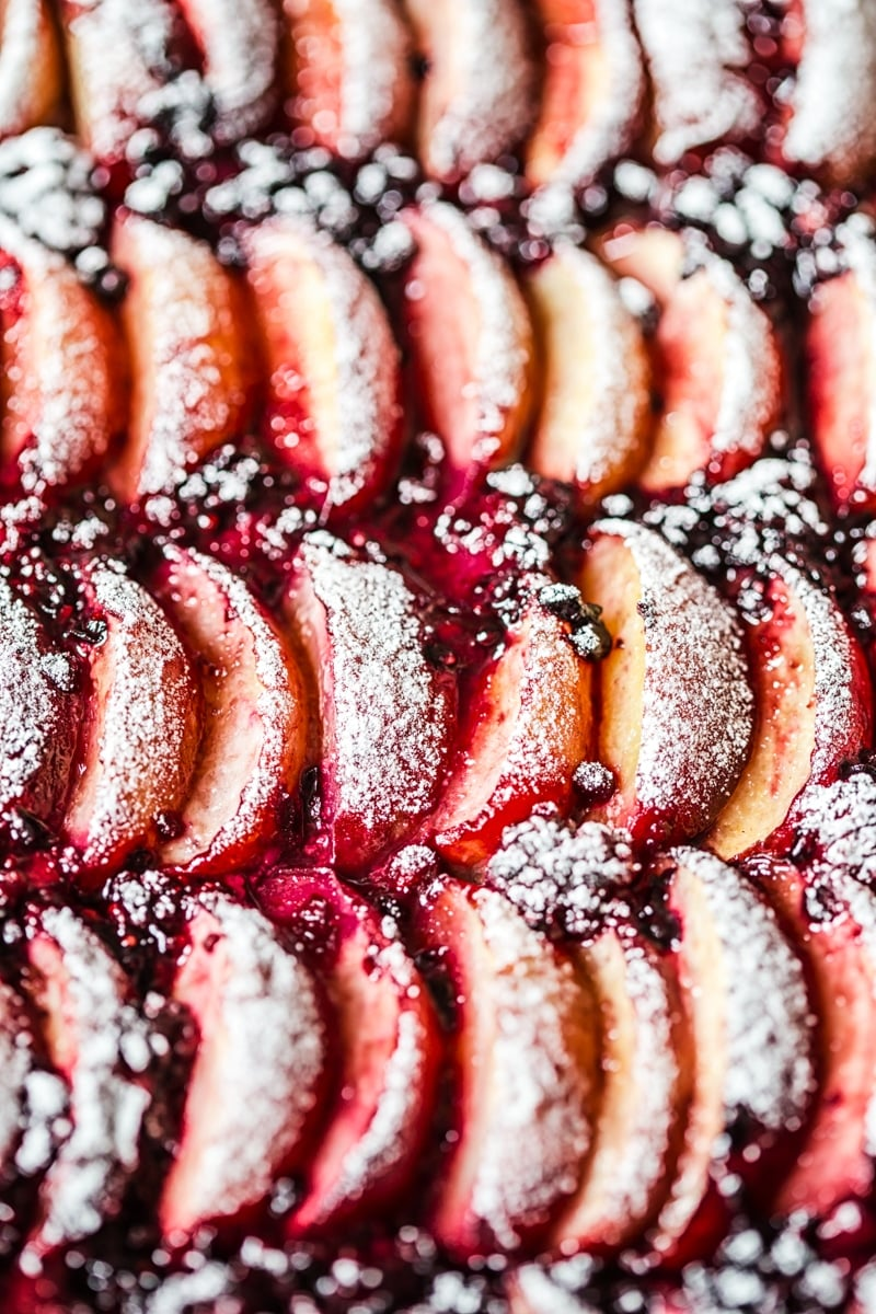 Close up of peaches and blackberries baked together