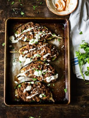 Harissa Beef Stuffed Eggplant