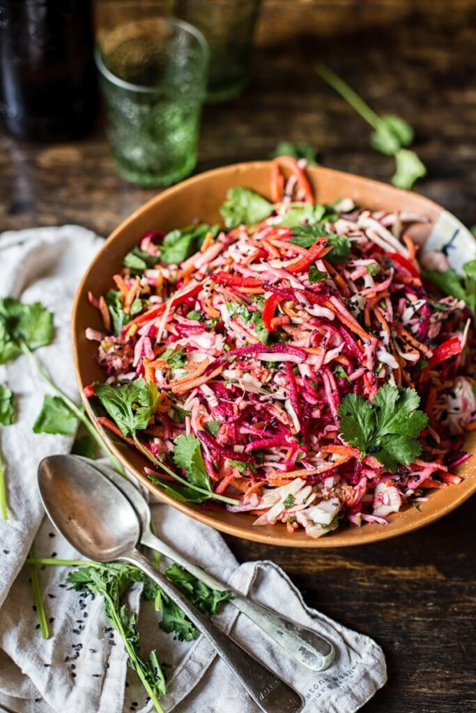 Bowl of slaw on a table
