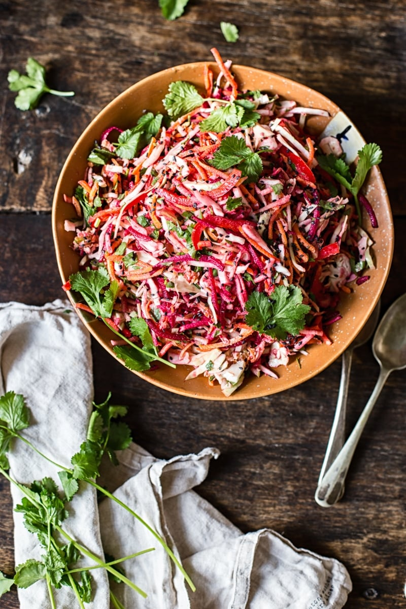 Rainbow Slaw with Lemon Garlic Tahini Dressing