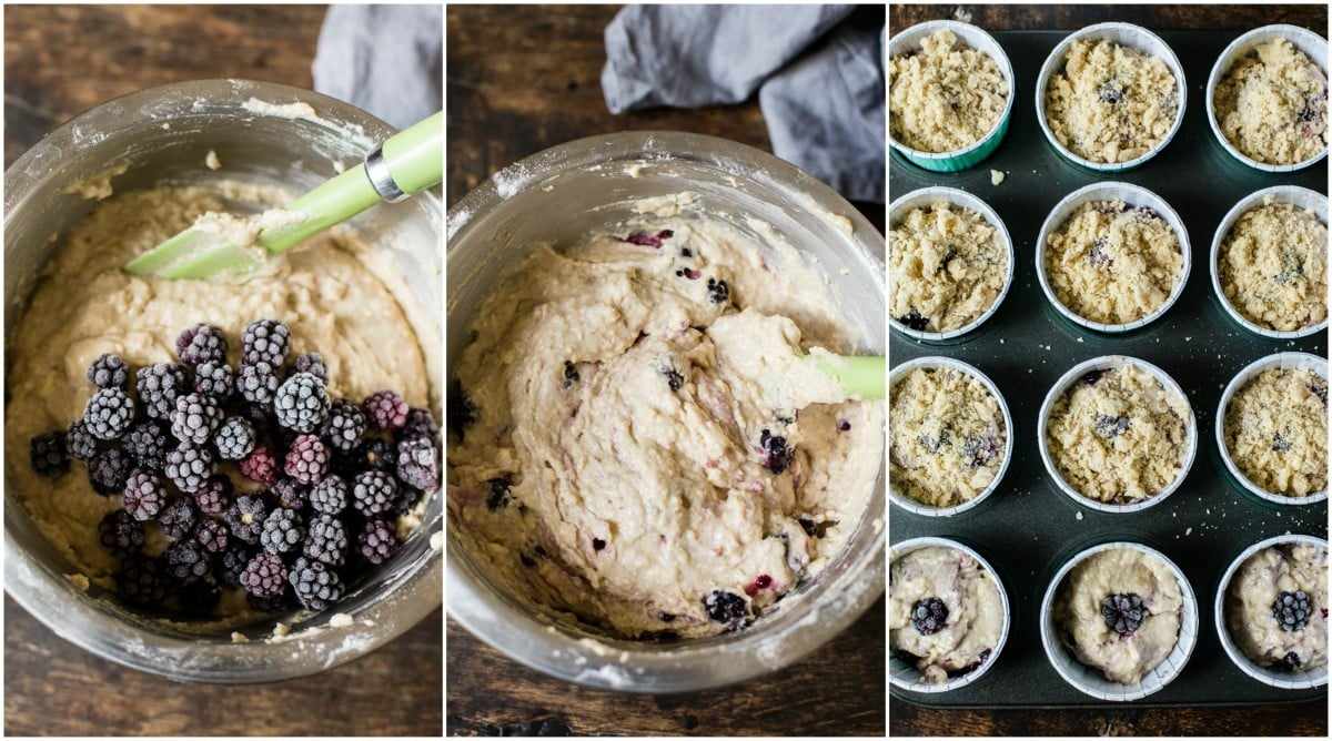 a collage of 3 images for the muffin baking process