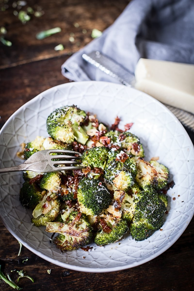 Roasted Parmesan Broccoli with Sun-Dried Tomatoes, Garlic and Chillies