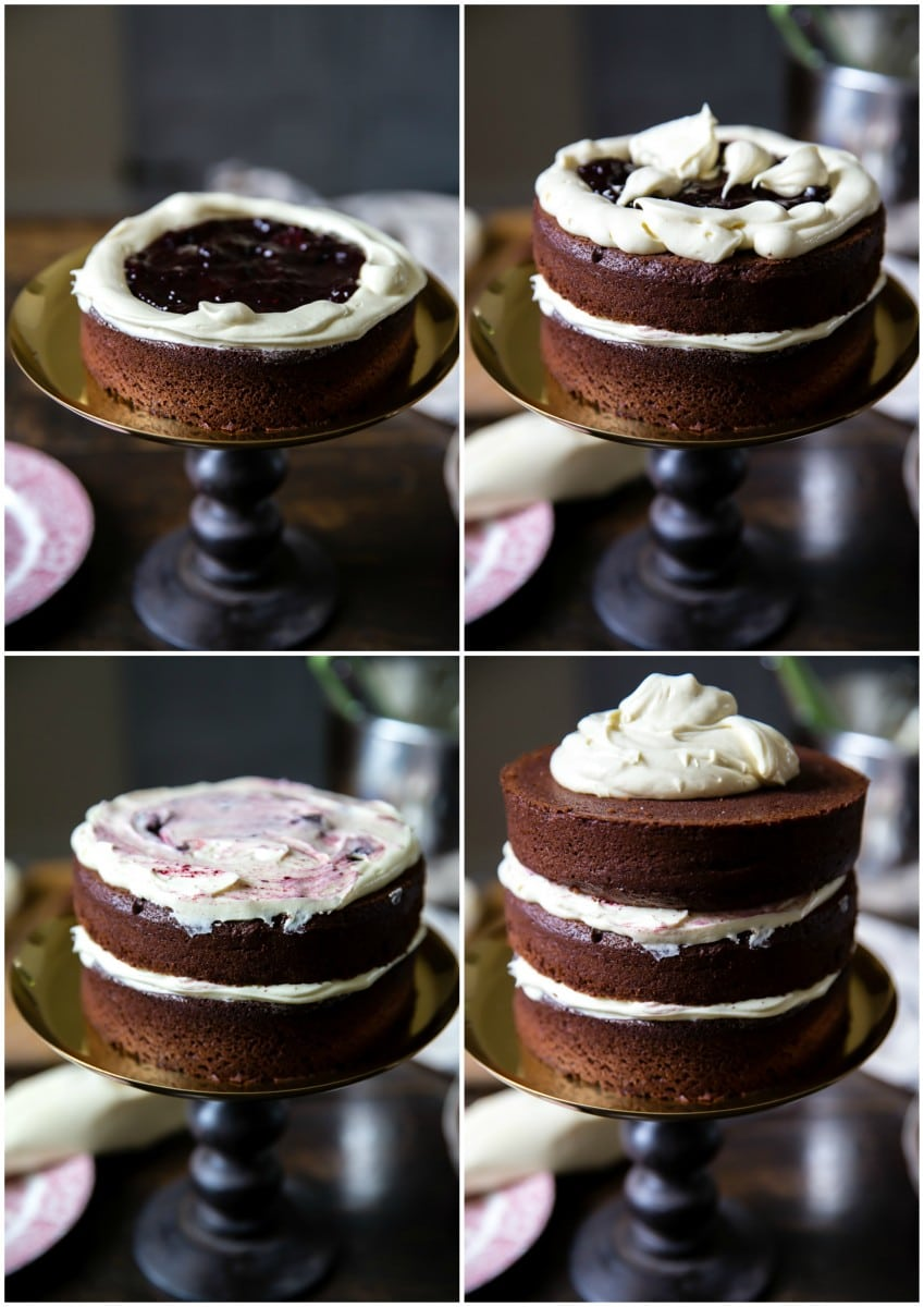 Black and White Chocolate Cake with Blackberry Compote