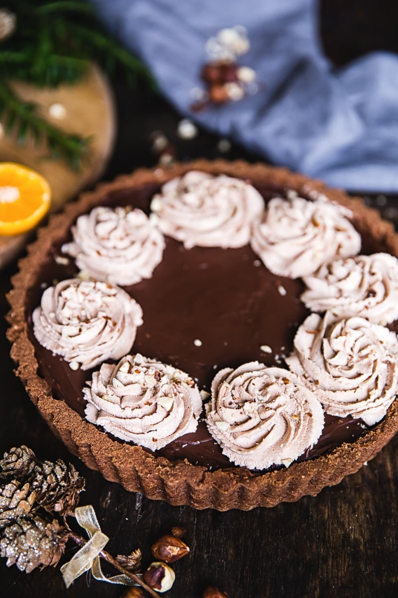Chocolate Orange and Hazelnut Tart