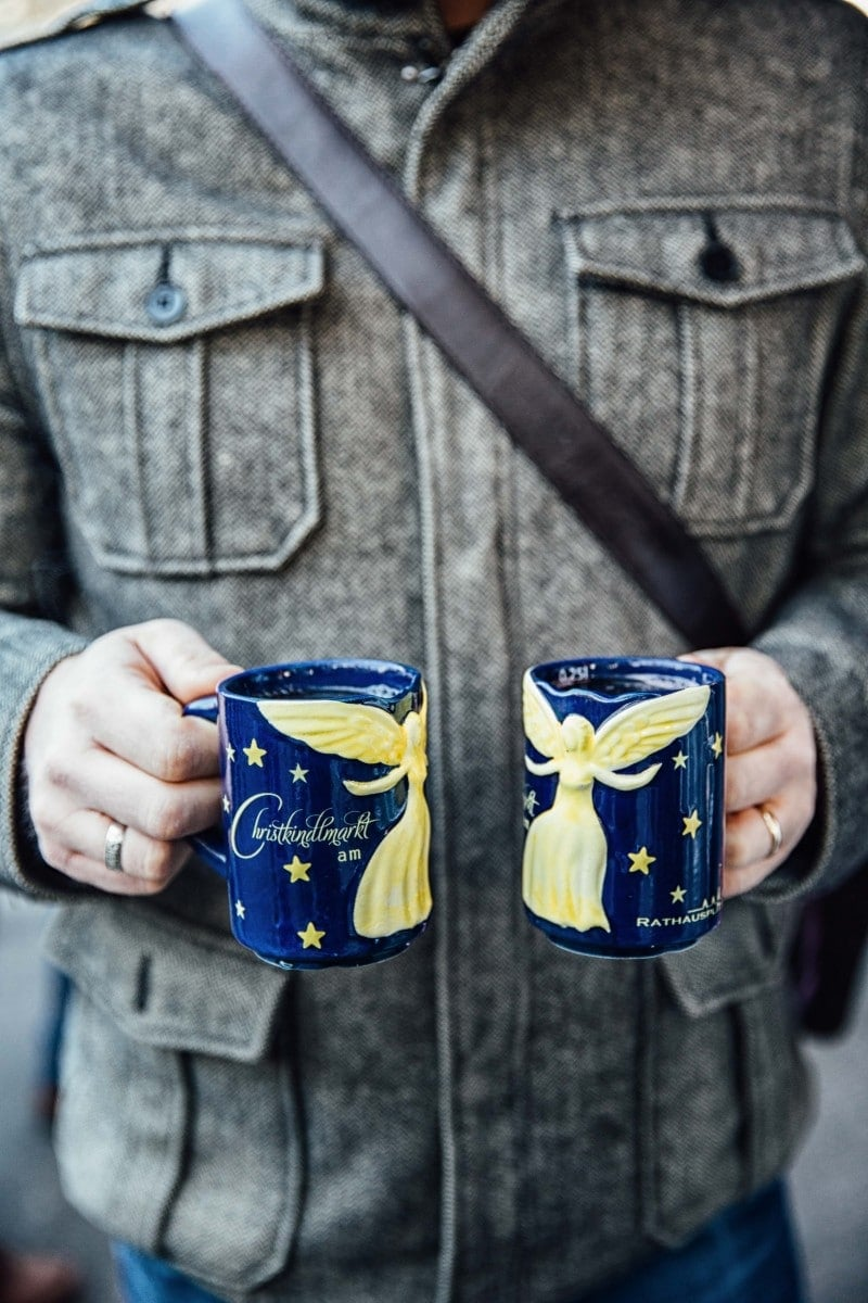 Two mugs of gluhwein from a market