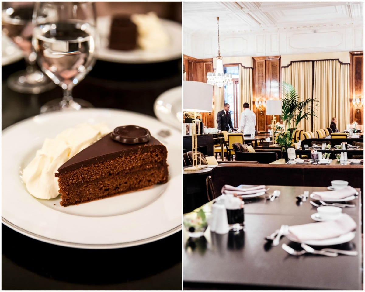 Sacher torte and the restaurant at Bristol Hotel