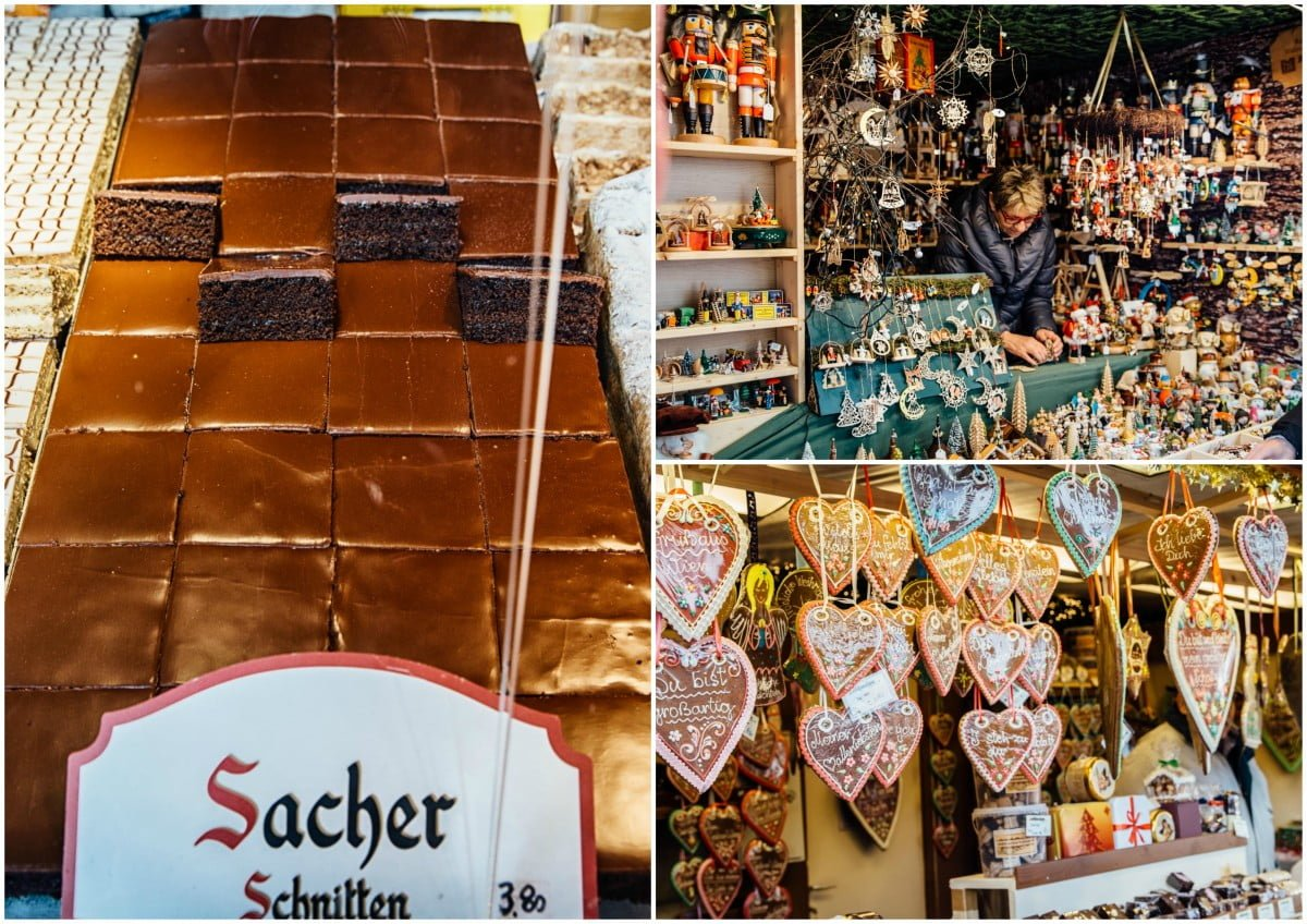 Sacher torte and crafts at a Christmas market stall
