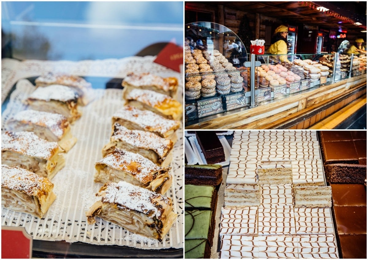 Apple strudel and other cakes at a market stall