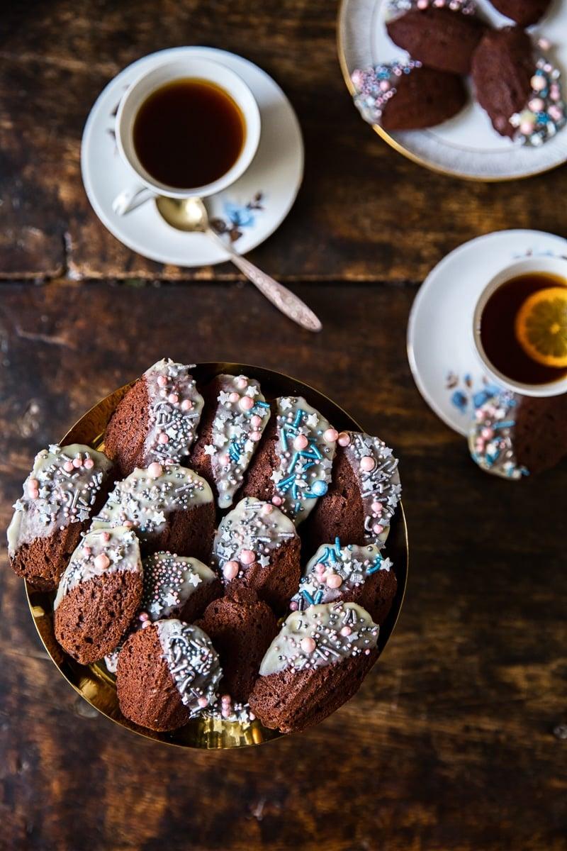 Baking Time Club Cosmic Blush Chocolate Madeleines, Vegan cake sprinkles, Gluten free ,Natural colourings