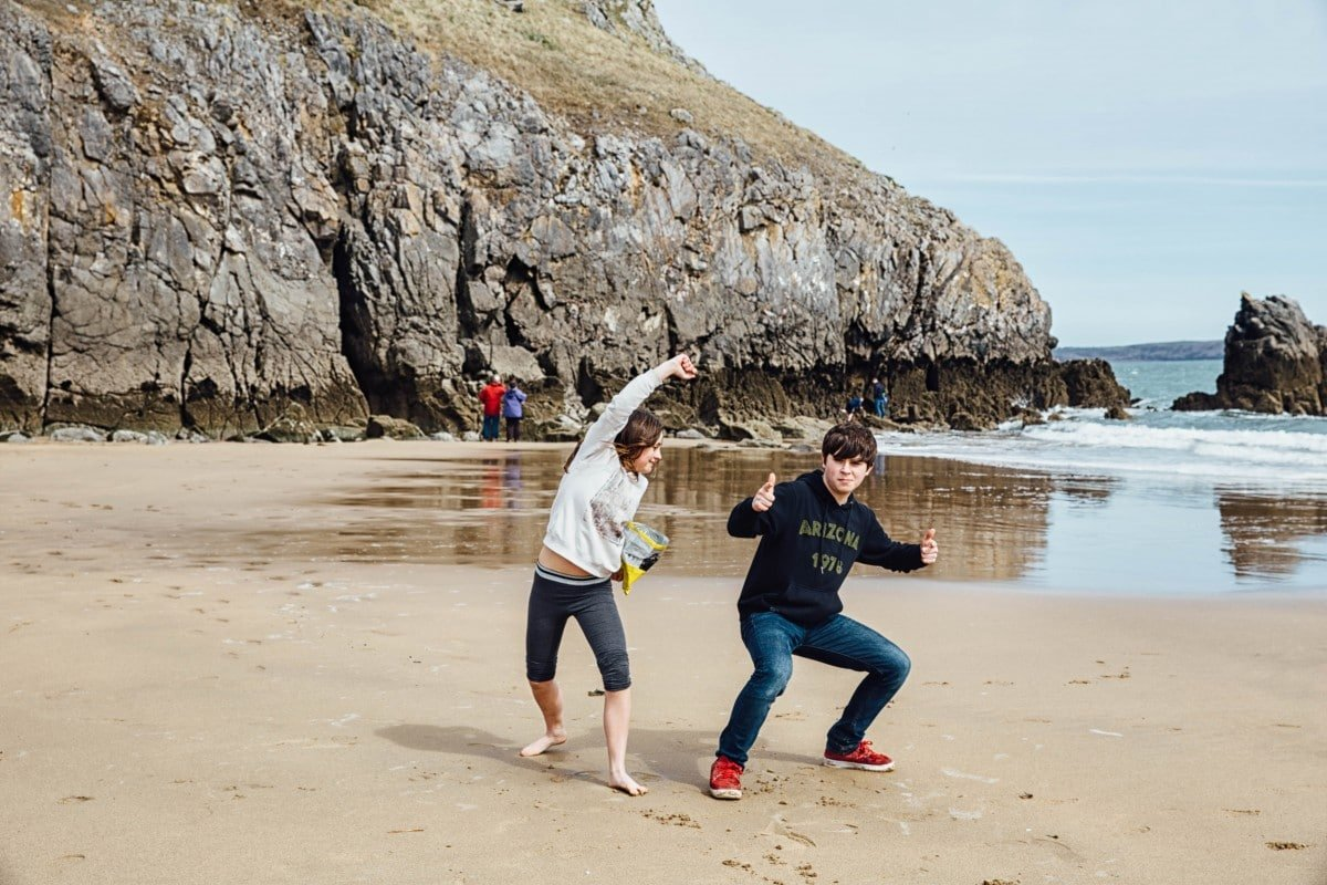 Our kids goofing off at Barafundle Bay