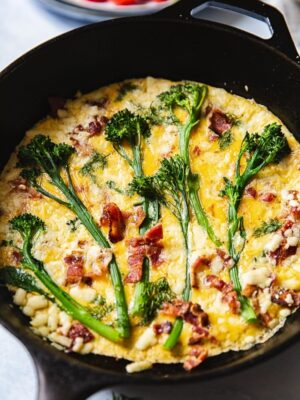Broccoli Frittata with Aged Cheddar and Bacon #frittata #broccolifrittata