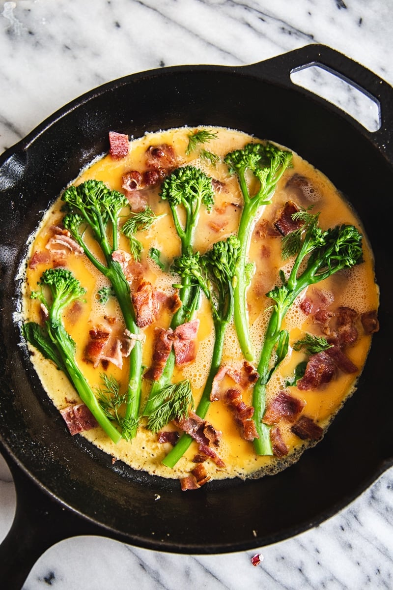 Broccoli Frittata with Aged Cheddar and Bacon #frittata #broccolifrittata