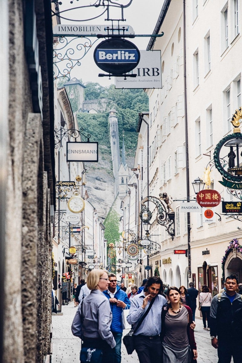 Getreidegasse, the main shopping street in Salzburg