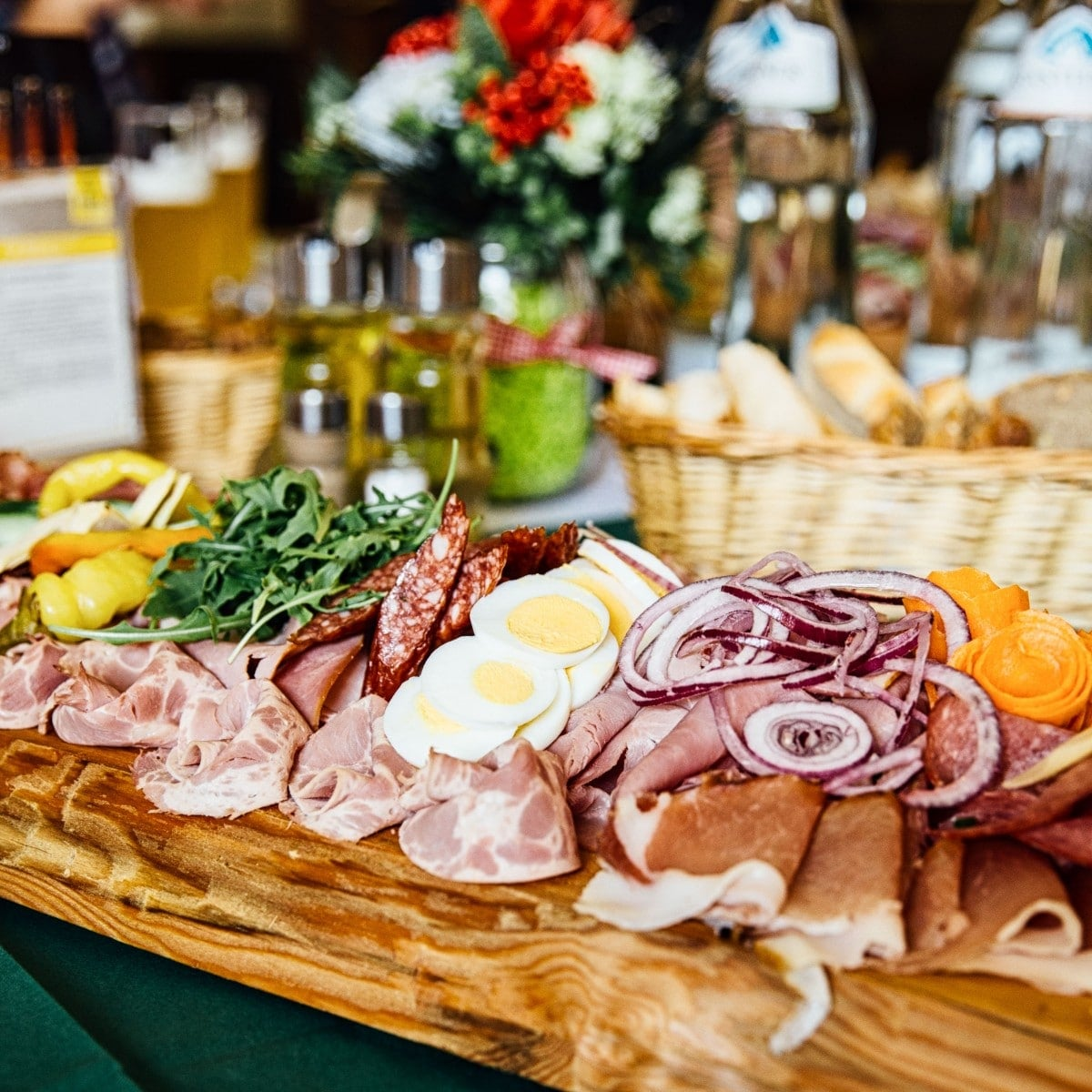 Platter of meats and cheeses served at a brewery pub