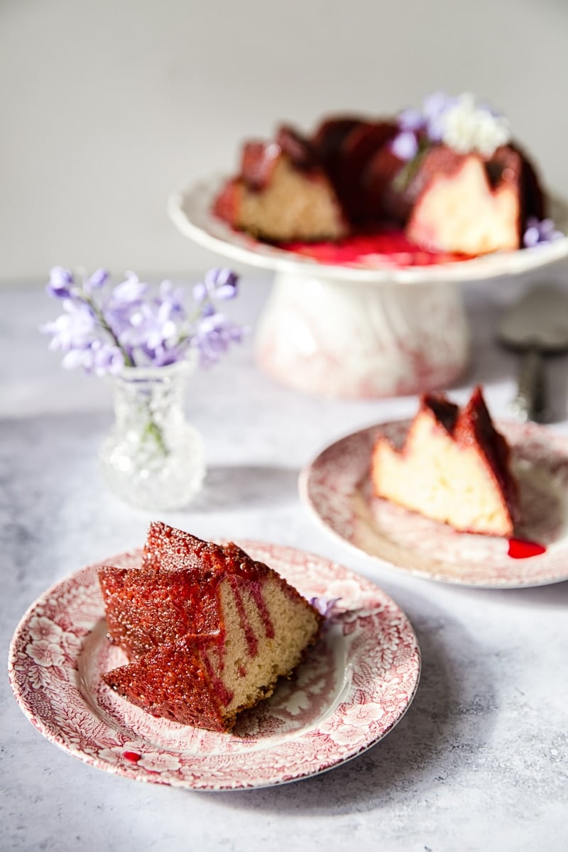 Lemon Ricotta Cake with Blackberry Glaze #lemoncake #bundtcake #blackberryglaze