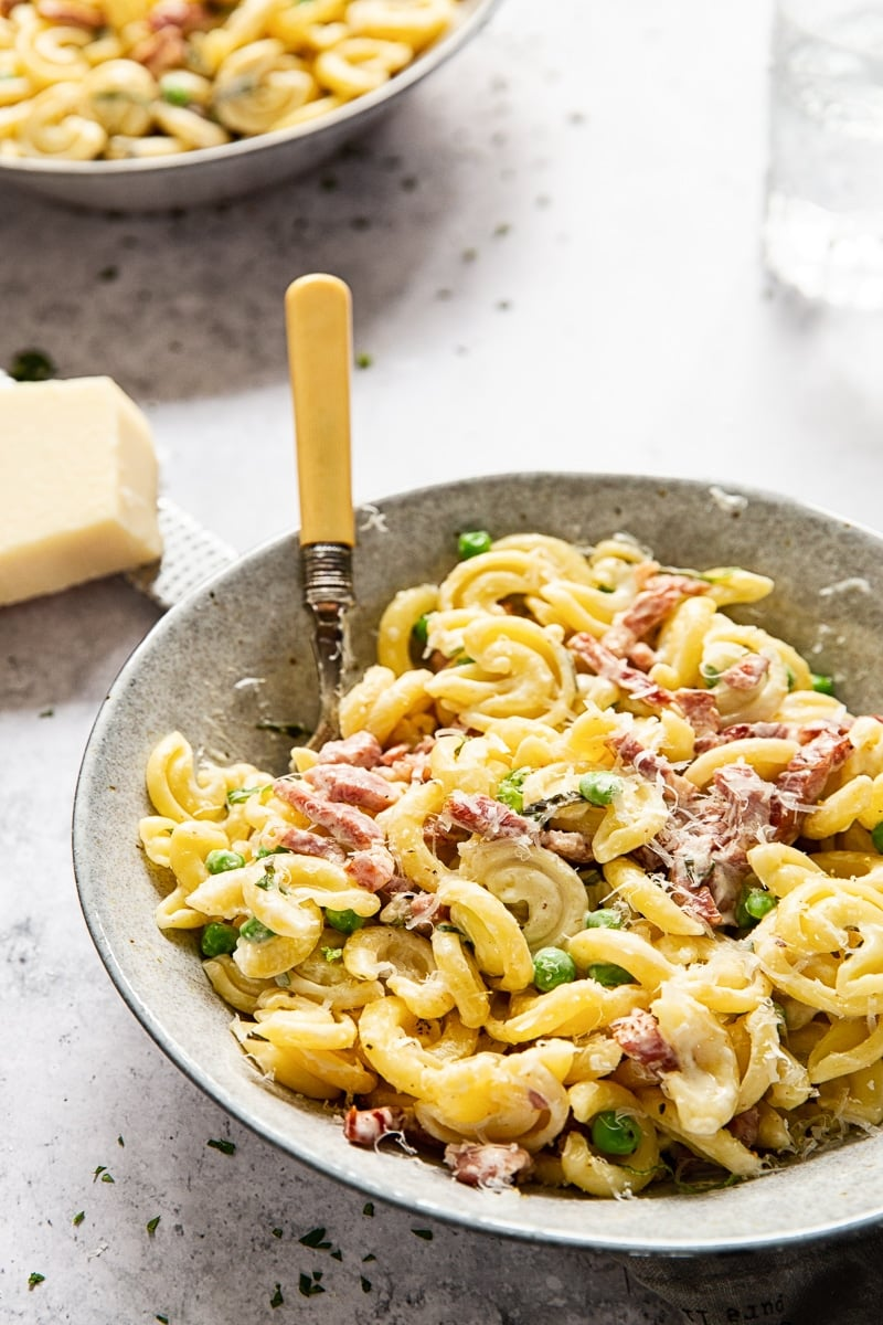 Creamy Pasta with Pancetta and Peas