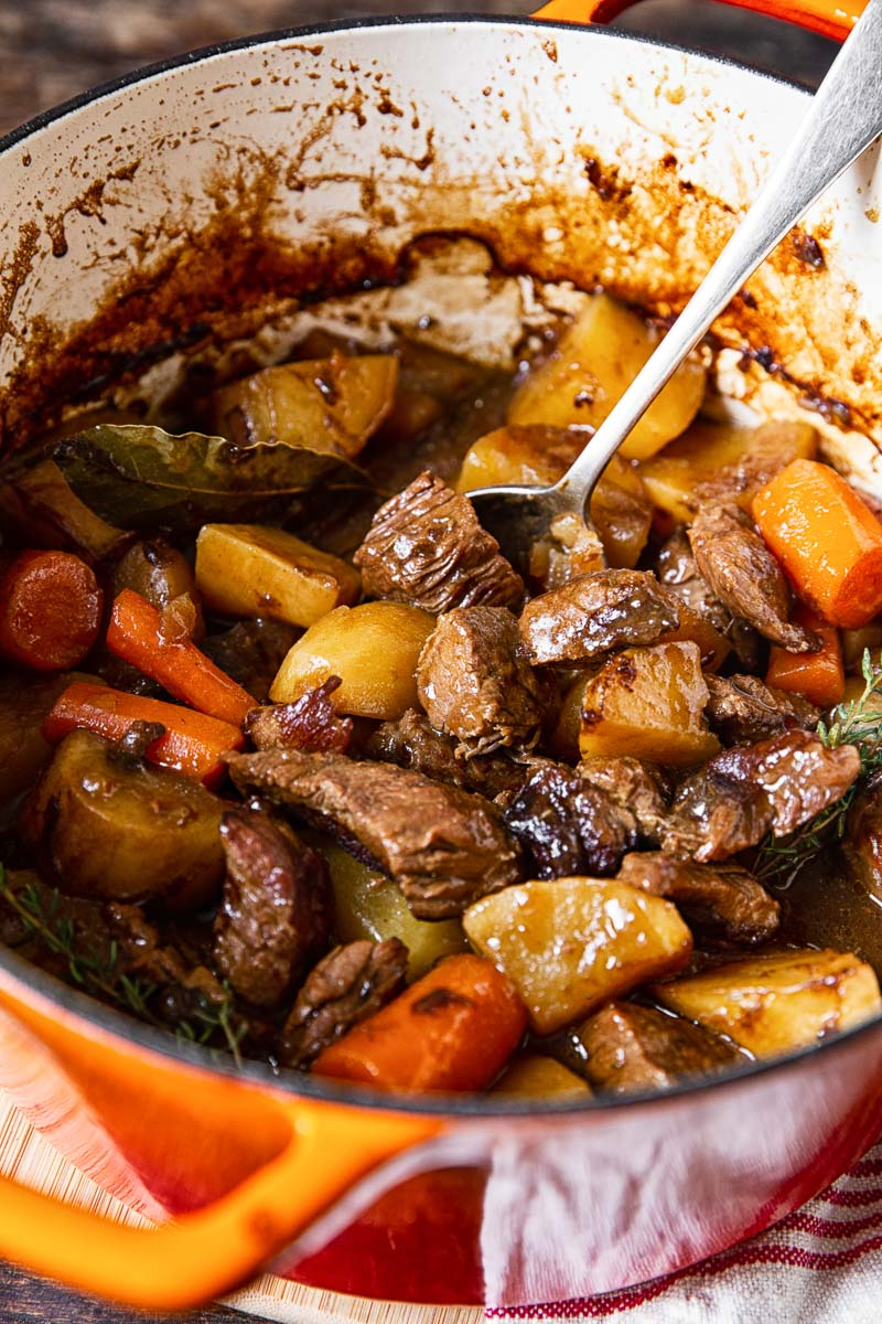Irish Beef Stew in orange pot