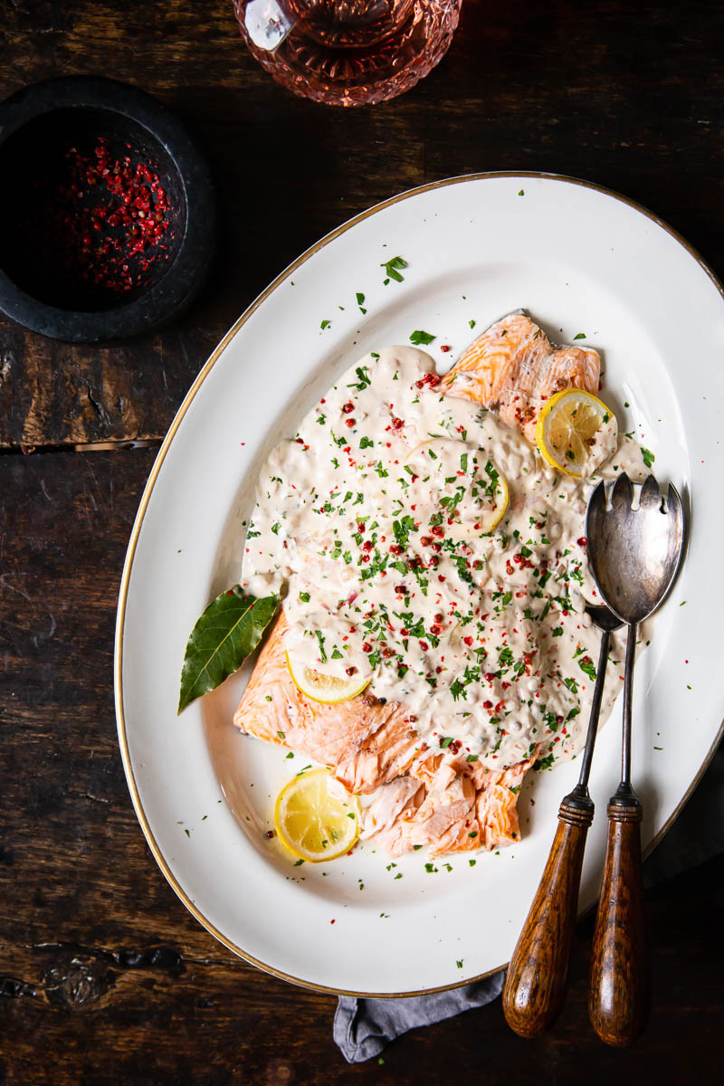 Baked Salmon in Rose Cream Sauce