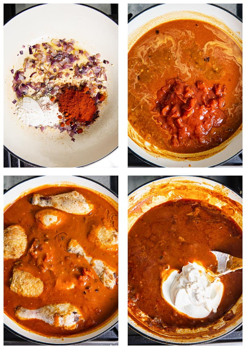 Chicken Paprikash (process images)