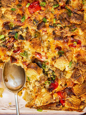 Overnight Breakfast Casserole with Sausage, Chorizo and Eggs