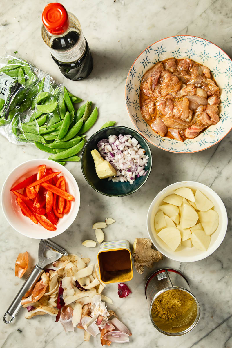 Chinese chicken curry ingredients.