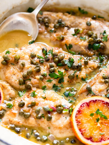 Chicken Paillard in sherry caper sauce with blood oranges