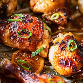 Honey Soy Chicken Thighs and Legs in roasting pan