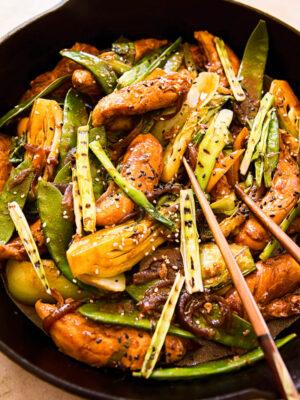 Teriyaki Chicken Stir Fry in cast iron pan