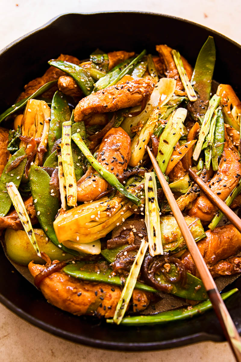 Teriyaki Chicken Stir Fry in cast iron pan