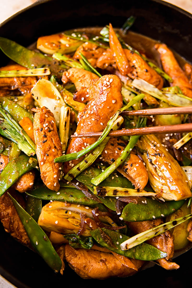 Teriyaki Chicken Stir Fry close up
