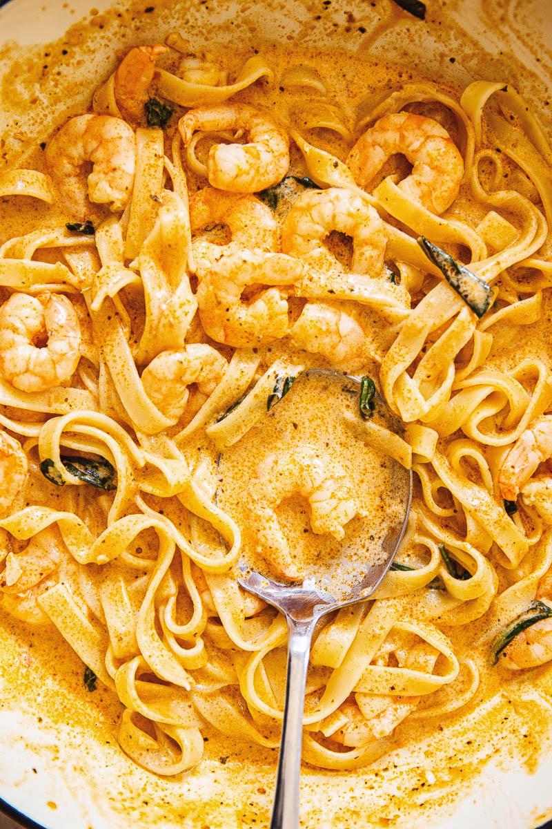 Shrimp pasta in creamy sun-dried tomato sauce