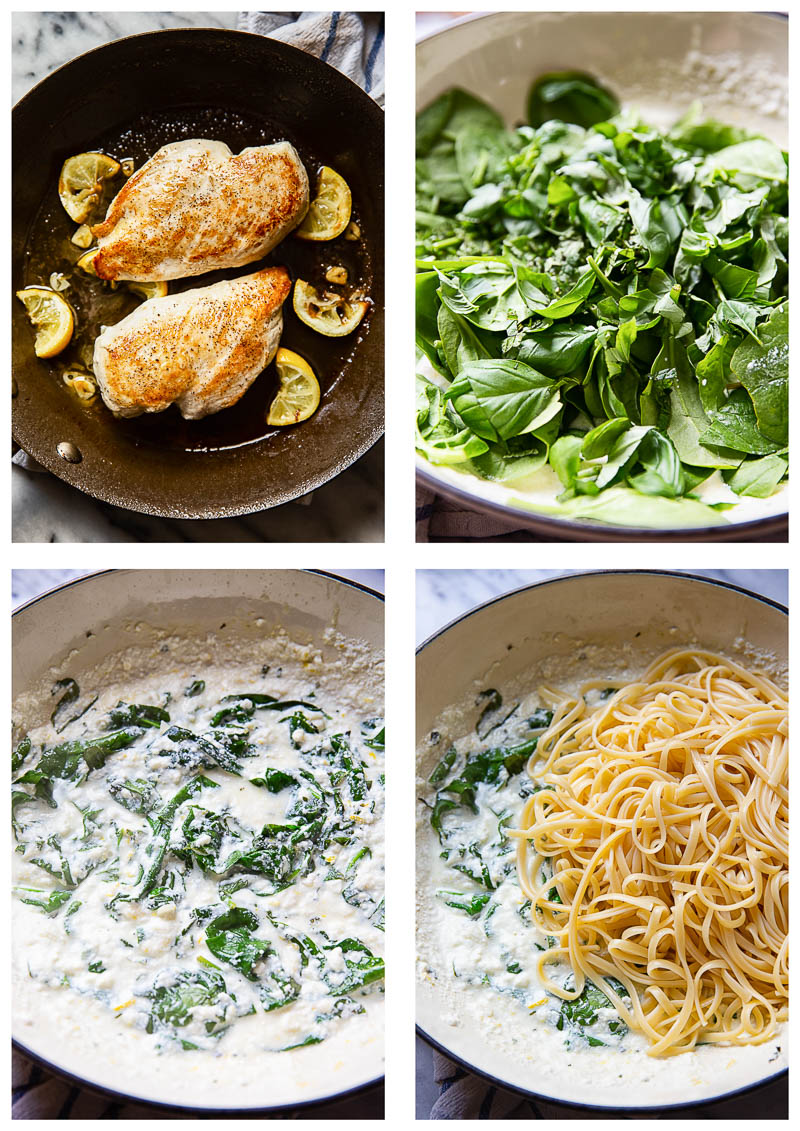 4 stages of spinach ricotta pasta with lemon butter chicken recipe