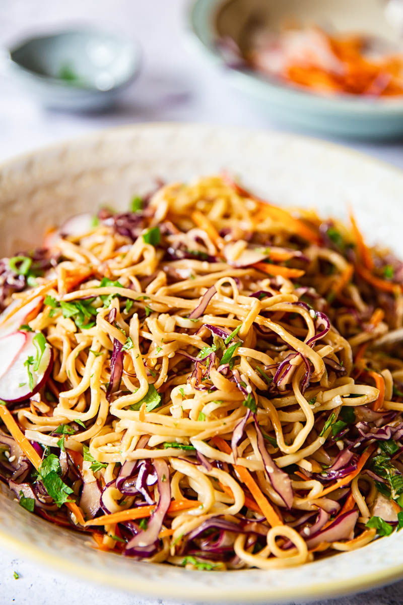 Oriental Noodle Salad with red cabbage, carrots and radishes.