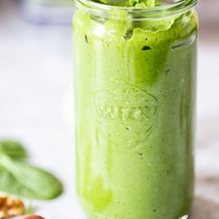 spinach pesto in mason jar