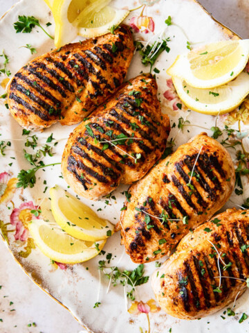 marinated and grilled chicken breasts
