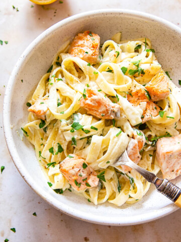 Creamy salmon pasta in bowl