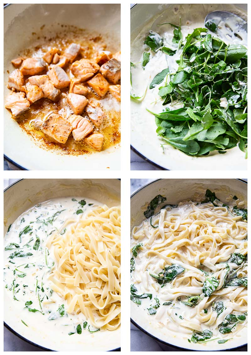 Salmon Pasta Step by Step Process Images