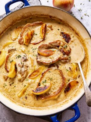 Boneless Pork Chops with apples and cream sauce
