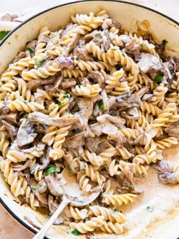 Mushroom Sroganoff over noodles