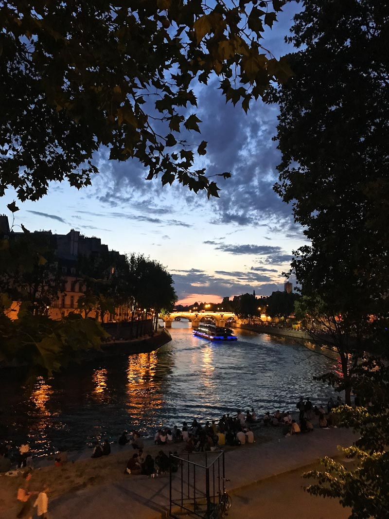 Evening view of the Seine River with lights in the background
