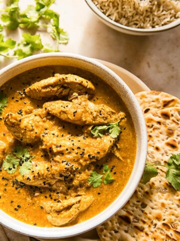 Chicken Korma with naan bread and basmati rice