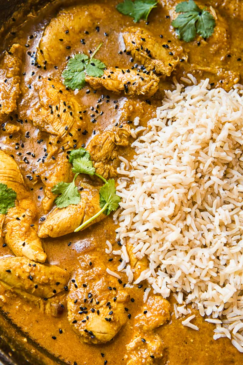 Chicken Korma with a side of brown basmati rice