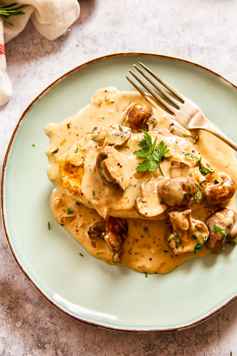 Creamy with garlic mushroom sauce on a plate