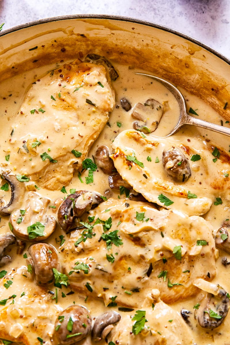 Chicken breasts in garlic mushroom sauce, sprinkled with parsley